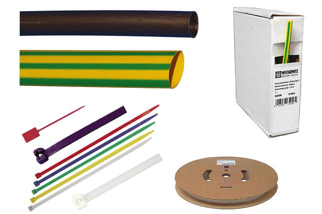 Kabelové pásky, smršťovací trubice